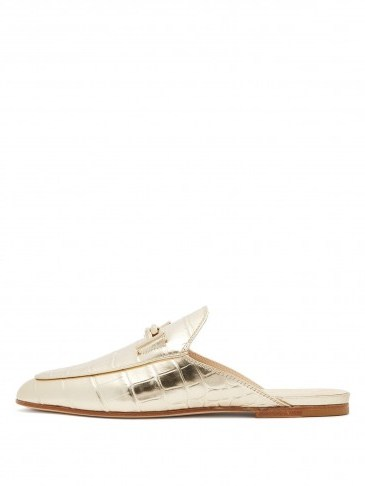 TOD'S T-bar crocodile-effect leather backless loafers in gold ~ luxe flats - flipped