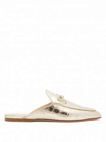 TOD'S T-bar crocodile-effect leather backless loafers in gold ~ luxe flats