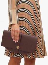 BURBERRY TB-monogram burgundy-leather clutch