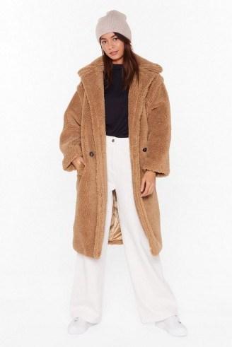 NASTY GAL Teddy or Not Faux Shearling Longline Coat in camel - flipped