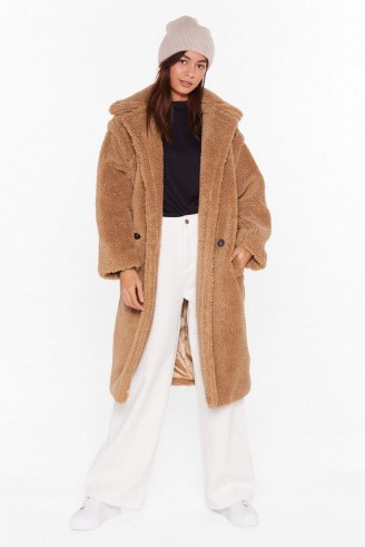 NASTY GAL Teddy or Not Faux Shearling Longline Coat in camel
