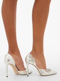 JIMMY CHOO Teja 100 crystal-brooch leather d'Orsay pumps in silver ~ metallic courts