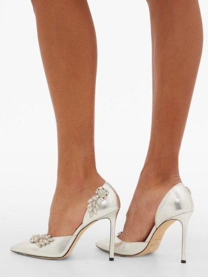 JIMMY CHOO Teja 100 crystal-brooch leather d'Orsay pumps in silver ~ metallic courts - flipped
