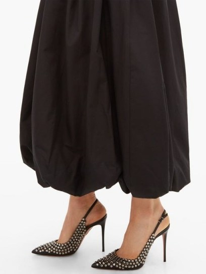 AQUAZZURA Tequila 105 crystal-embellished slingback pumps in black – special event footwear – luxury slingbacks - flipped