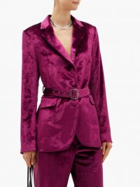 SIES MARJAN Terry single-breasted belted velvet jacket in burgundy-purple ~ jewel tone jackets