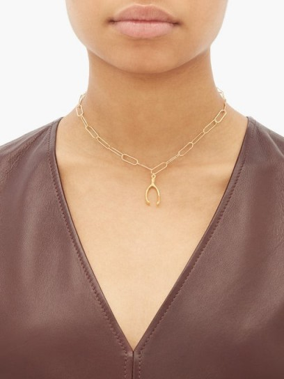 ALIGHIERI The Lucky Break 24kt gold-plated necklace | wishbone-shaped charm necklaces