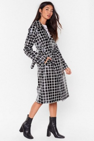 NASTY GAL The Vinyl Background Check Belted Trench Coat in black - flipped