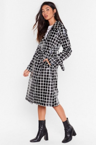 NASTY GAL The Vinyl Background Check Belted Trench Coat in black
