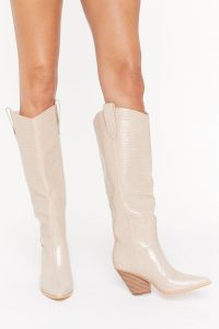 NASTY GAL The Wild Western Faux Leather Croc Boots in Stone