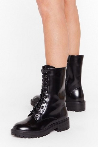 NASTY GAL Tied and Tested Wide Fit Faux Leather Boots in black - flipped
