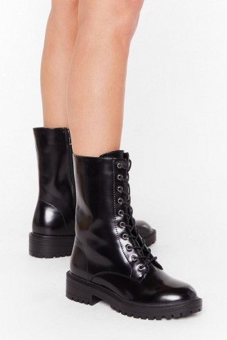 NASTY GAL Tied and Tested Wide Fit Faux Leather Boots in black