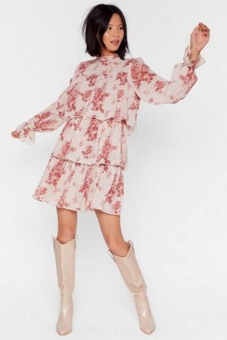 NASTY GAL Tier We Are Floral Mini Dress in nude – tiered dresses - flipped