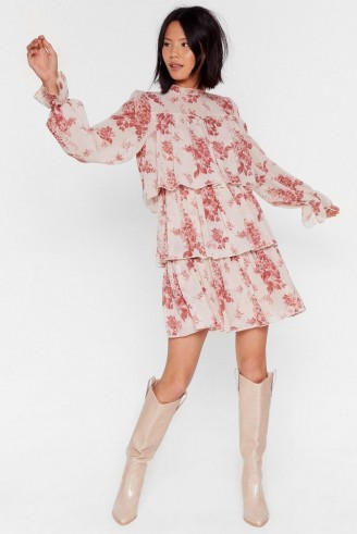 NASTY GAL Tier We Are Floral Mini Dress in nude – tiered dresses