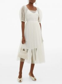 MOLLY GODDARD Tilly puffed-sleeve tulle midi dress in white | sheer dresses