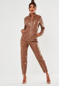 MISSGUIDED toffee faux leather zip jumpsuit