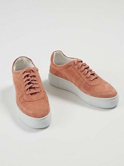 OLIVER BONAS Tonal Pink Leather Flatform Trainers | sports luxe sneakers - flipped