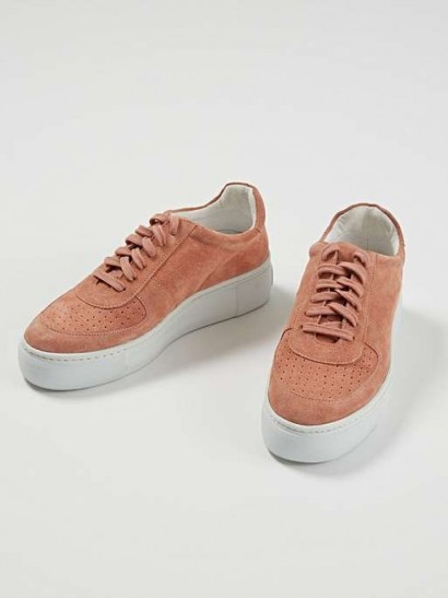OLIVER BONAS Tonal Pink Leather Flatform Trainers | sports luxe sneakers