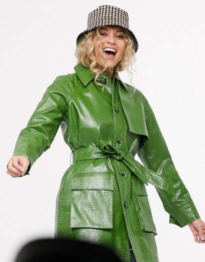 Topshop croc shacket in green – longline belted shackets - flipped