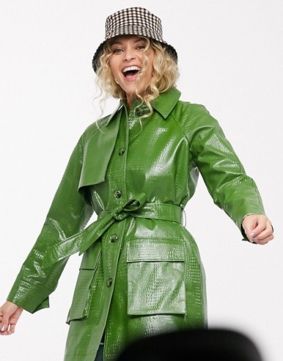 Topshop croc shacket in green – longline belted shackets