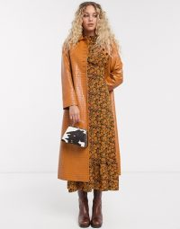 Topshop faux leather midi trench coat in tan | high shine coats