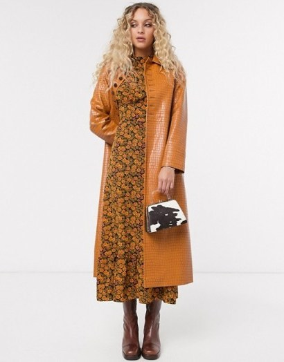 Topshop faux leather midi trench coat in tan | high shine coats - flipped