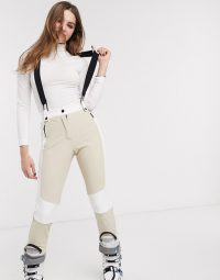 Topshop SNO ski trousers in nude | skiing pants with braces | snow sport clothing