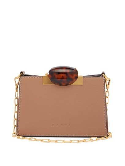 MARNI Tortoiseshell-effect clasp leather shoulder bag in pink | chic chain strap bags