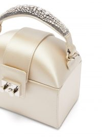 RODO Trunk crystal-embellished satin bag in light-grey