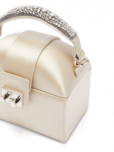 RODO Trunk crystal-embellished satin bag in light-grey