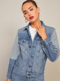 Reformation Two Tone Jean Jacket in Vintage Wash
