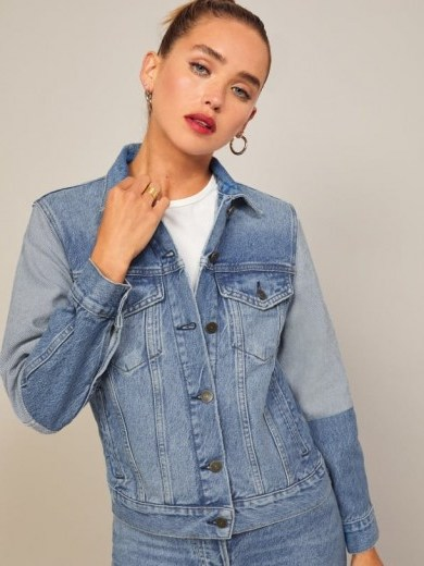 Reformation Two Tone Jean Jacket in Vintage Wash - flipped
