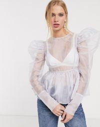 UNIQUE 21 sheer organza top with puff sleeves and peplum hem in lilac | oversized puff sleeved blouse