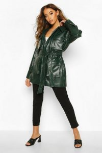 boohoo Utility Pocket Leather Look Jacket in Forest – green – belted