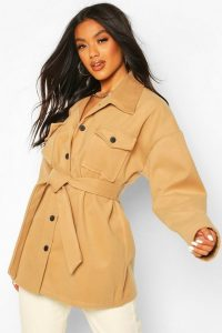 boohoo Utility Pocket Self Fabric Belt Wool Look Coat in Camel