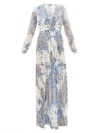 RAQUEL DINIZ Valentina paisley-print silk-georgette dress blue