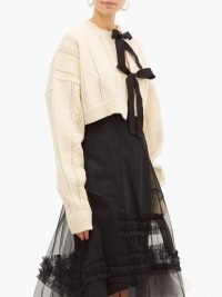 MOLLY GODDARD Venetia bow-front cropped wool cardigan in cream
