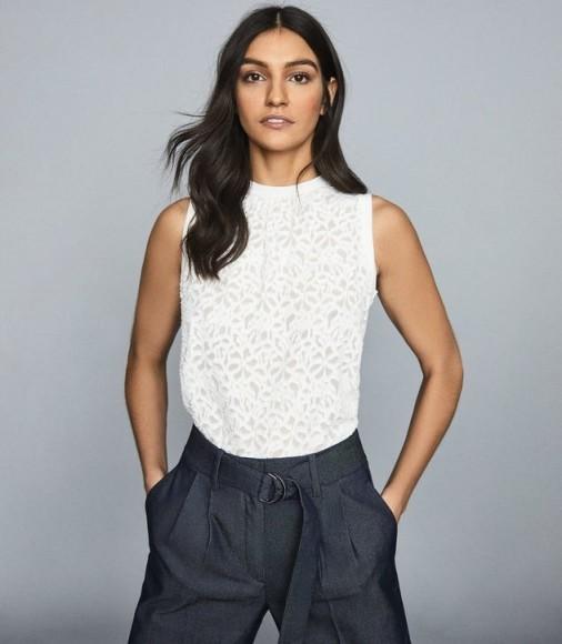 REISS VENETIA BURNOUT SHELL TOP WHITE ~ sleeveless tops