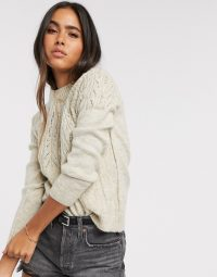 Vero Moda jumper with cable detail in cream / birch