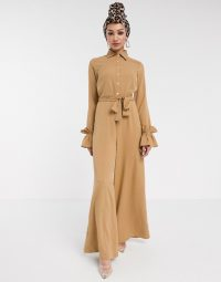 Verona wide leg jumpsuit with ruffle sleeve in beige – glamorous jumpsuits