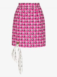Versace Houndstooth Scarf Trim Mini Skirt in pink