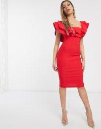 Vesper bardot midi dress in red – ruffled going out dresses