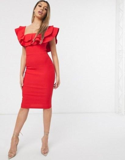 Vesper bardot midi dress in red – ruffled going out dresses - flipped