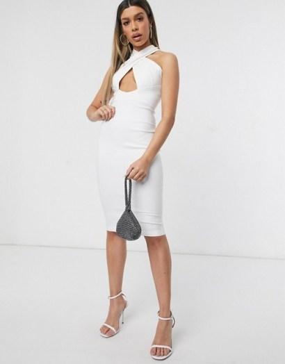 Vesper cross neck midi dress in white – keyhole front bodycon – lwd - flipped