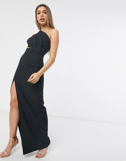 Vesper maxi dress with thigh split in black – one shoulder evening dresses – going out glamour - flipped