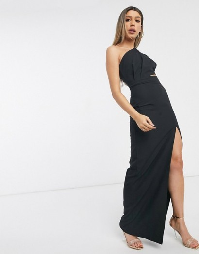Vesper maxi dress with thigh split in black – one shoulder evening dresses – going out glamour