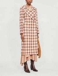 VICTORIA BECKHAM Martingale check twill coat in red/cream – designer coats
