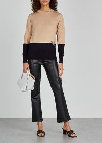 VICTORIA, VICTORIA BECKHAM Camel and black wool jumper ~ chic knitwear