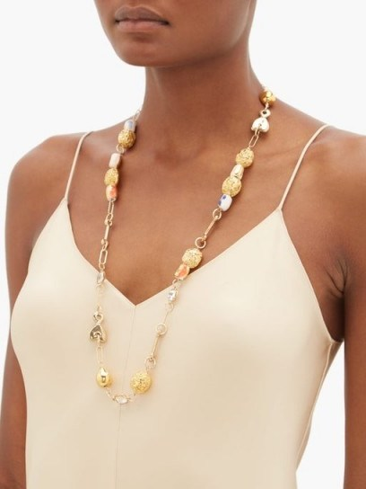 SONIA BOYAJIAN Viera ceramic-bead and crystal necklace ~ long beaded necklaces - flipped