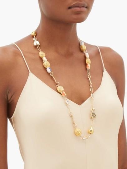 SONIA BOYAJIAN Viera ceramic-bead and crystal necklace ~ long beaded necklaces