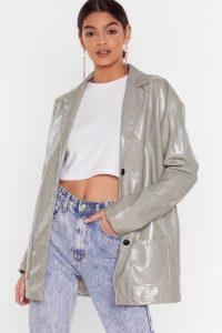 NASTY GAL Vinyl Without You Oversized Jacket in Sage – high shine blazer